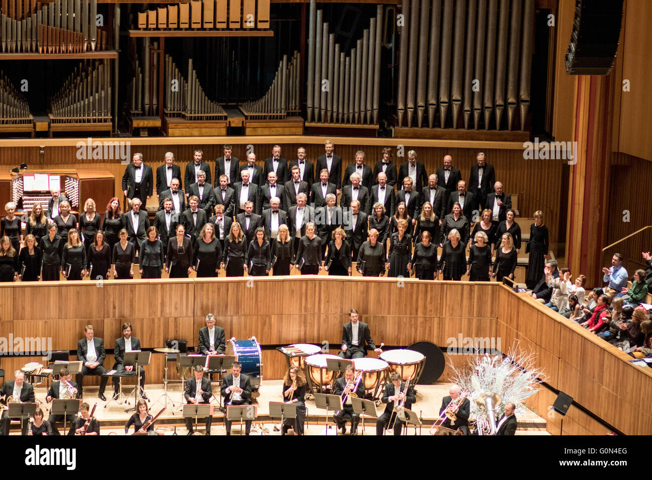 Choir Orchestra Handel's Messiah Royal Festival Hall - Stock Image
