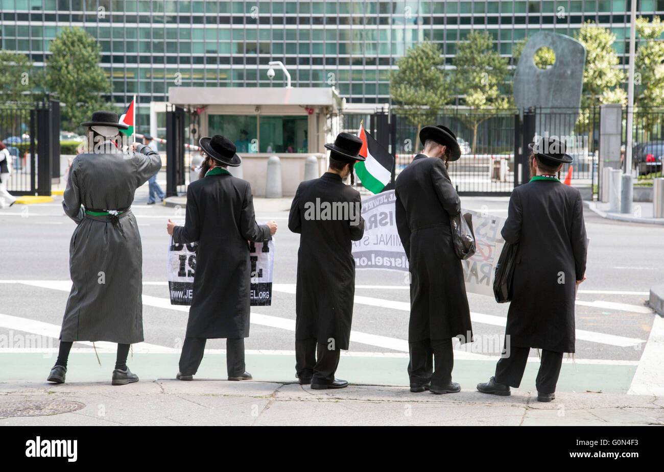 Anti Zionist Jews protesting outside the United Nations Building Boycott Israel Org - Stock Image