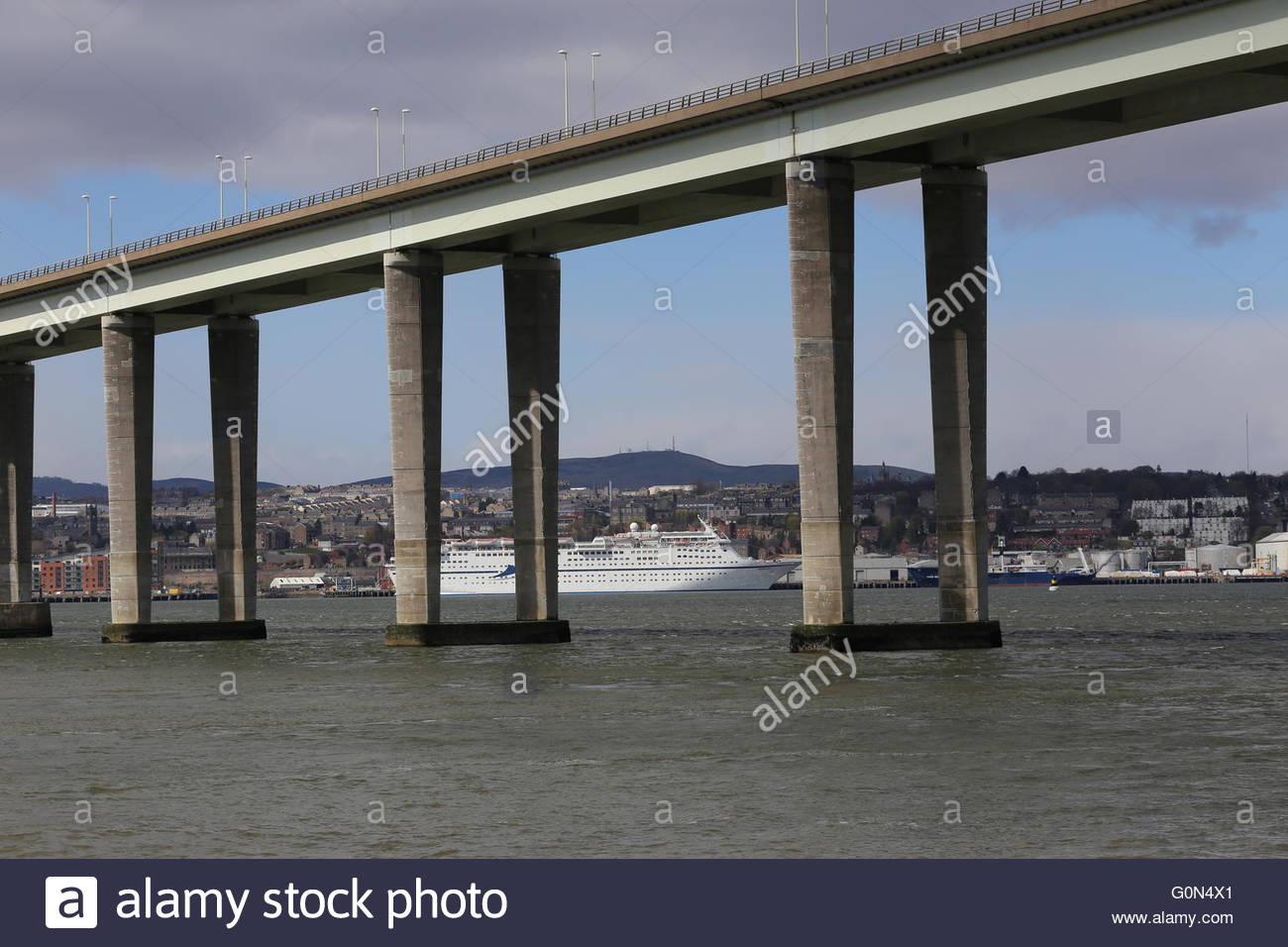 Tay Road Bridge and CMV cruise ship Magellan Dundee Scotland  25th April 2016 - Stock Image