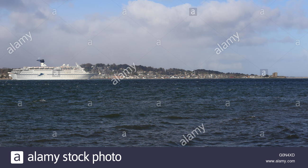 CMV cruise ship Magellan passing Broughty Ferry Dundee Scotland  25th April 2016 - Stock Image