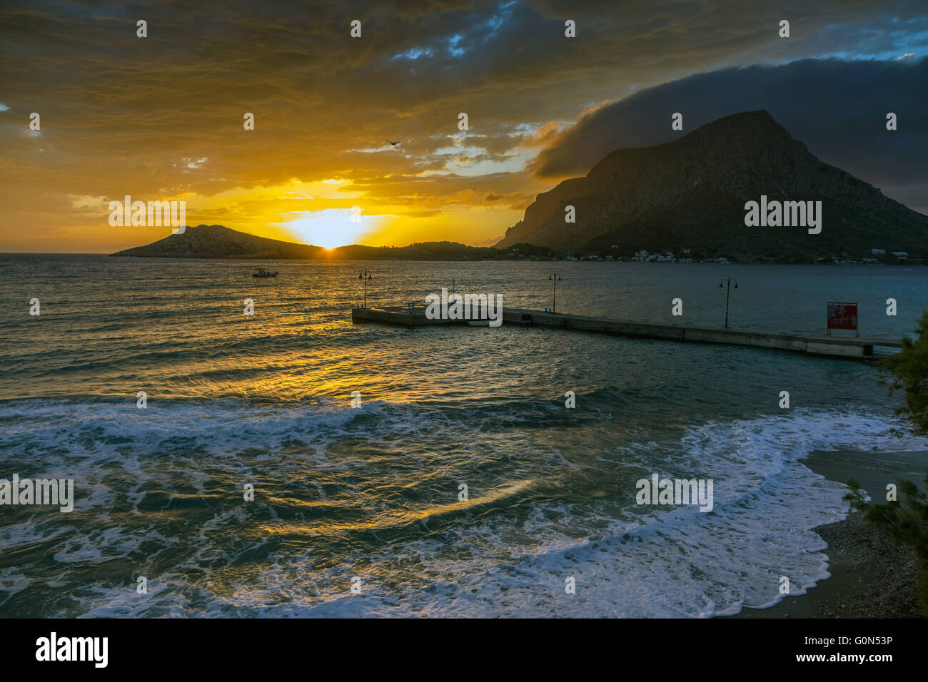 Spectacular sunset with Telendos Island from Kalymnos - Stock Image