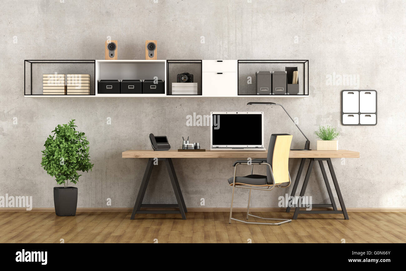 Contemporary Home Office With Laptop On Minimalist Desk   3d ...