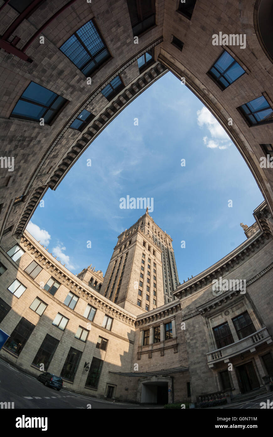 Palac Kultury (Palace of Culture) seen from its inner yard, Warszawa, Poland - Stock Image