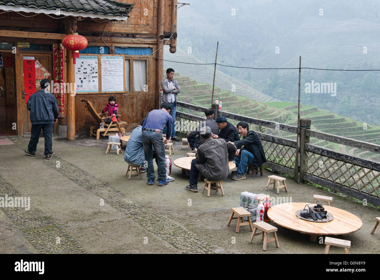 Traditional life along the rice terraces of Jinkeng, Guangxi Autonomous Region, China - Stock Image