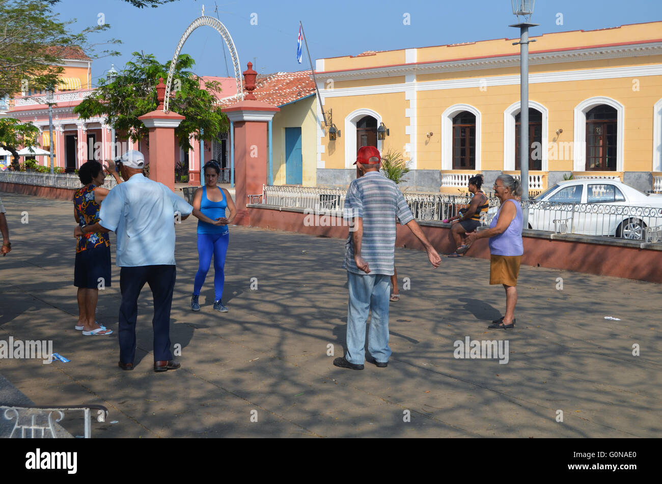 Tai Chi in the main square, Remedios, Cuba 2016 - Stock Image