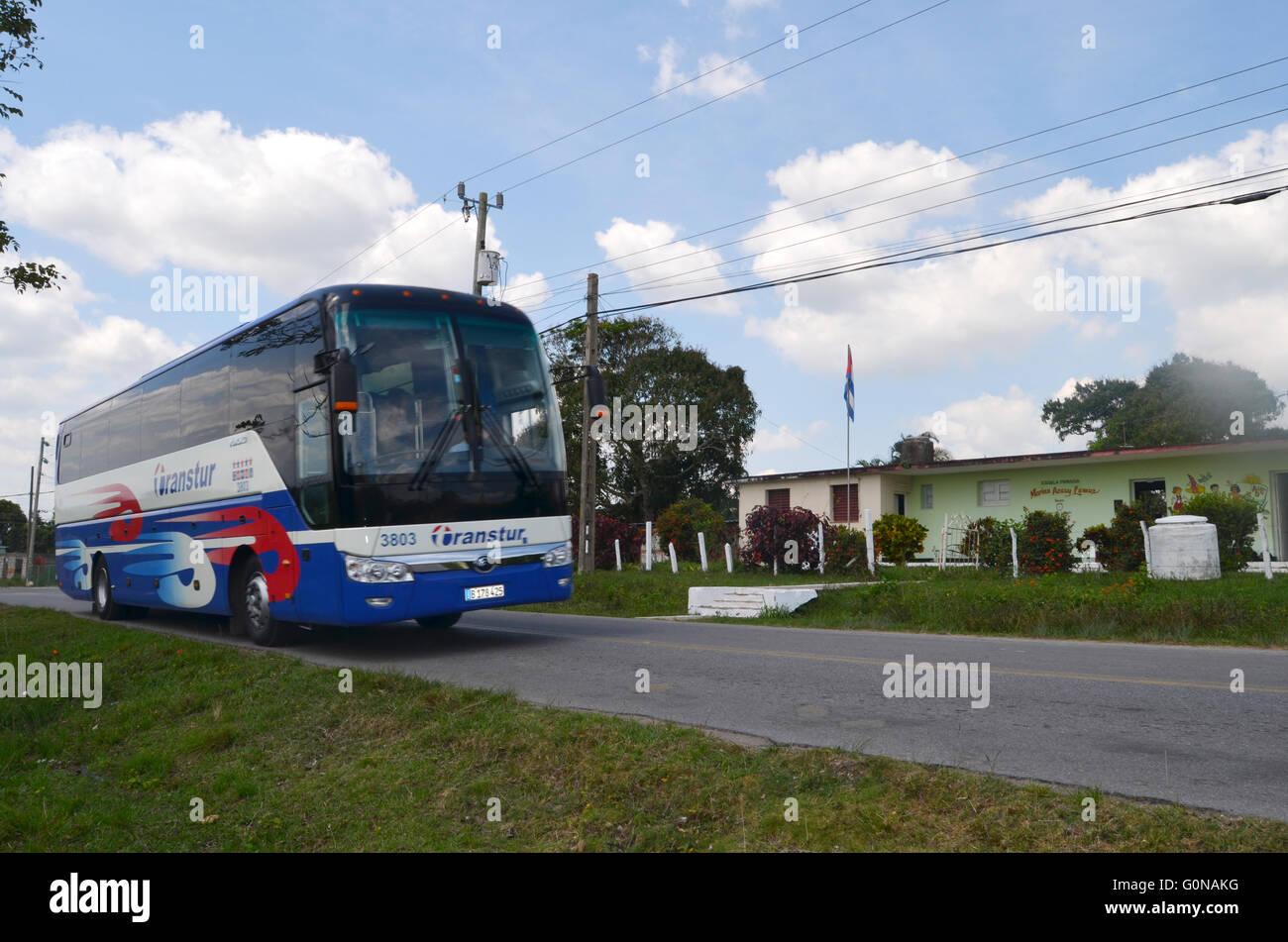 Tourist bus, Vinales valley, Cuba 2016 - Stock Image