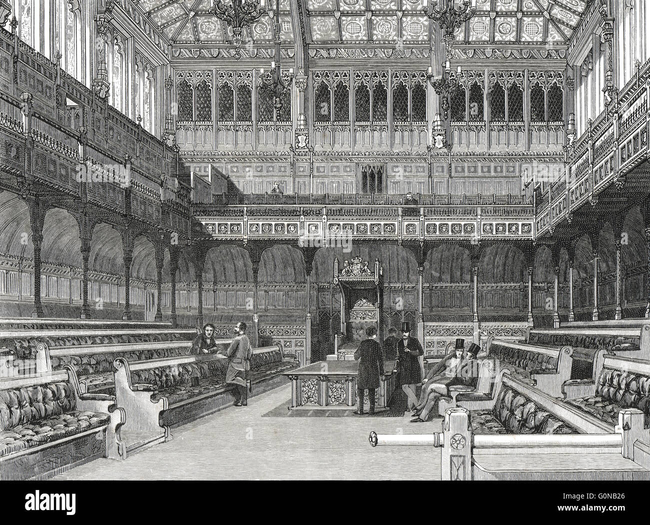 Interior of The House of Commons in the 19th Century - Stock Image