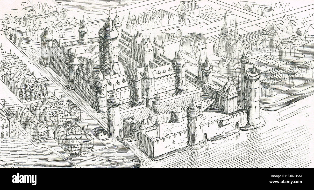 Birds Eye View of Paris in the 13th Century - Stock Image