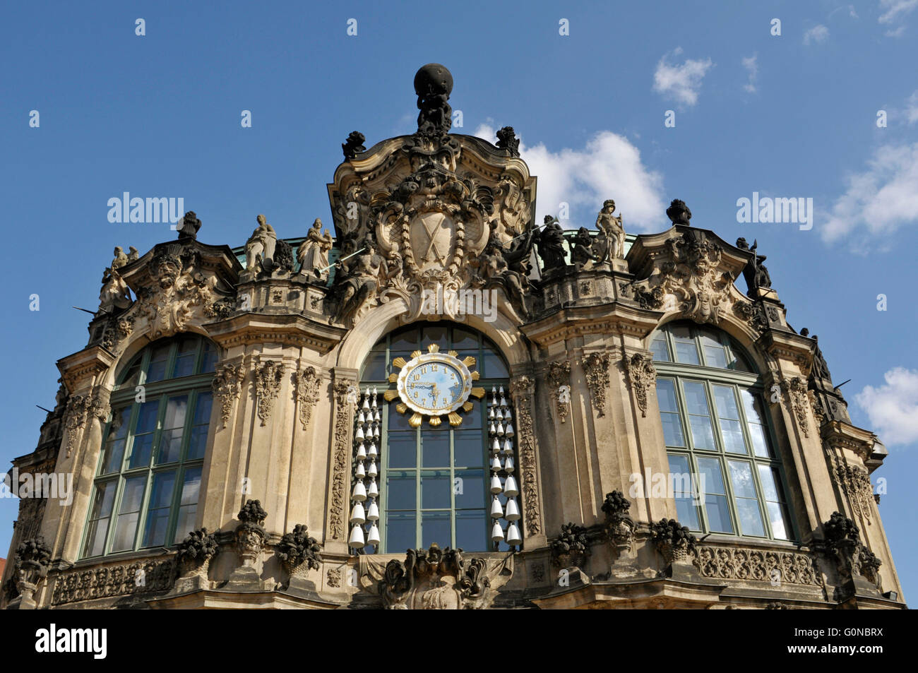 detail of Rampart Pavilion, Zwinger Palace, Dresden, Germany - Stock Image