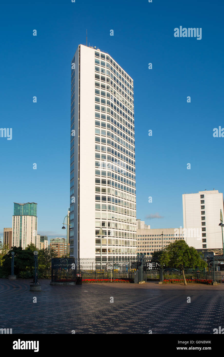 tall and narrow office block, known as the Alpha Tower, in the centre of Birmingham, UK - Stock Image
