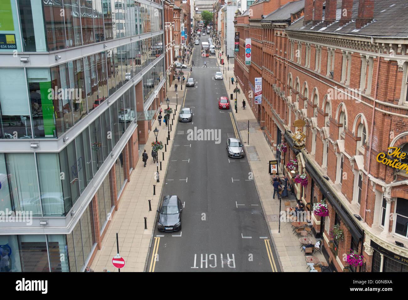 view down Edmund Street in Birmingham city centre, UK - Stock Image