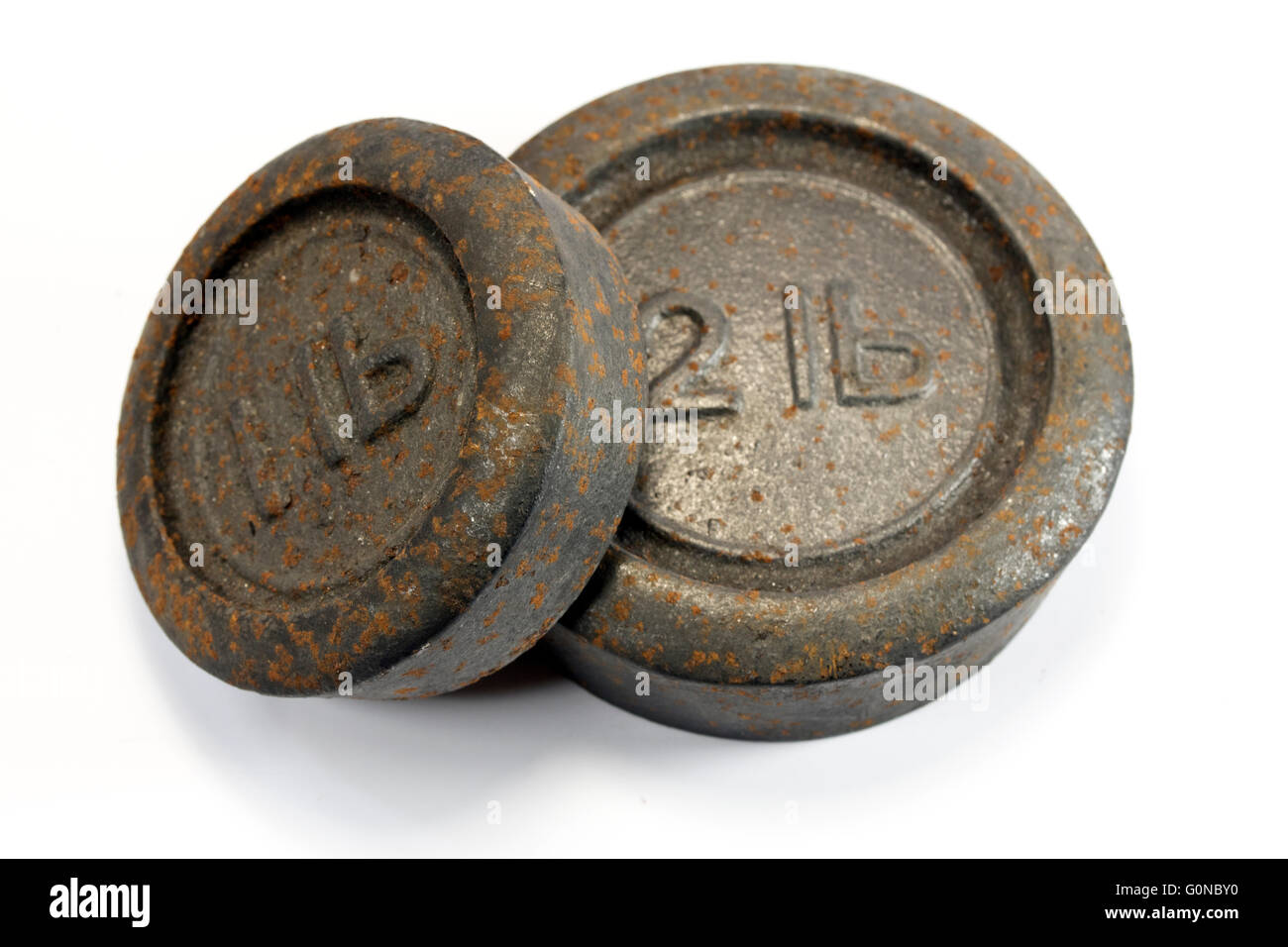 Vintage Weighing Weights 1lb and 2lb - Stock Image