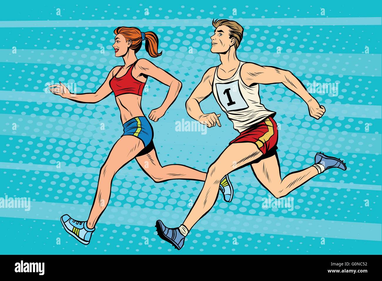 Man woman athletes running track and field summer games Stock Vector
