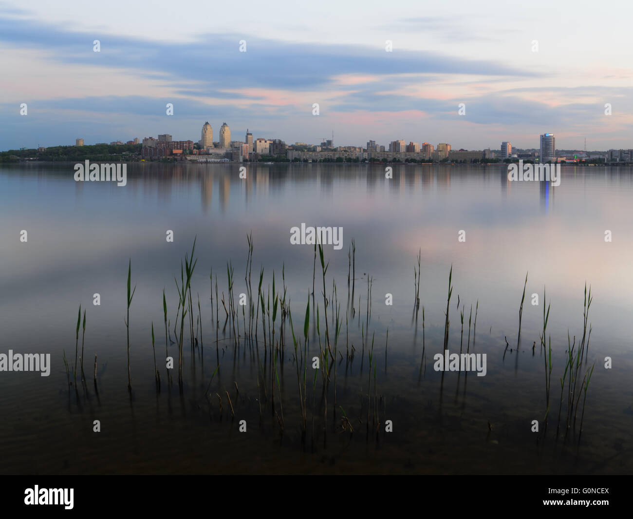 Twighlight in the Dnipropetrovsk with reflection. Ukraine - Stock Image