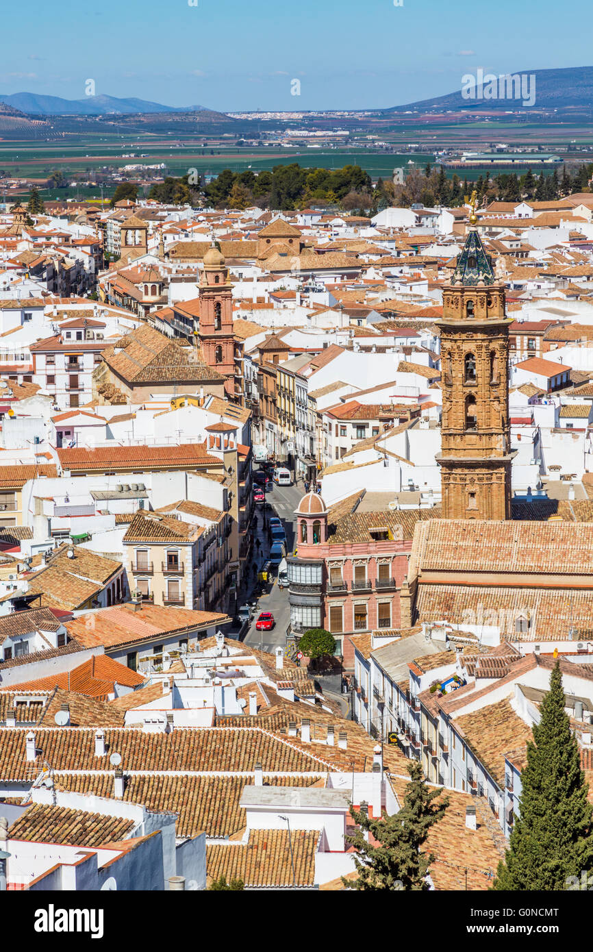 Antequera, Malaga Province, Andalusia, southern Spain.  Looking down from La Alcazaba, (the citadel or castle) into - Stock Image