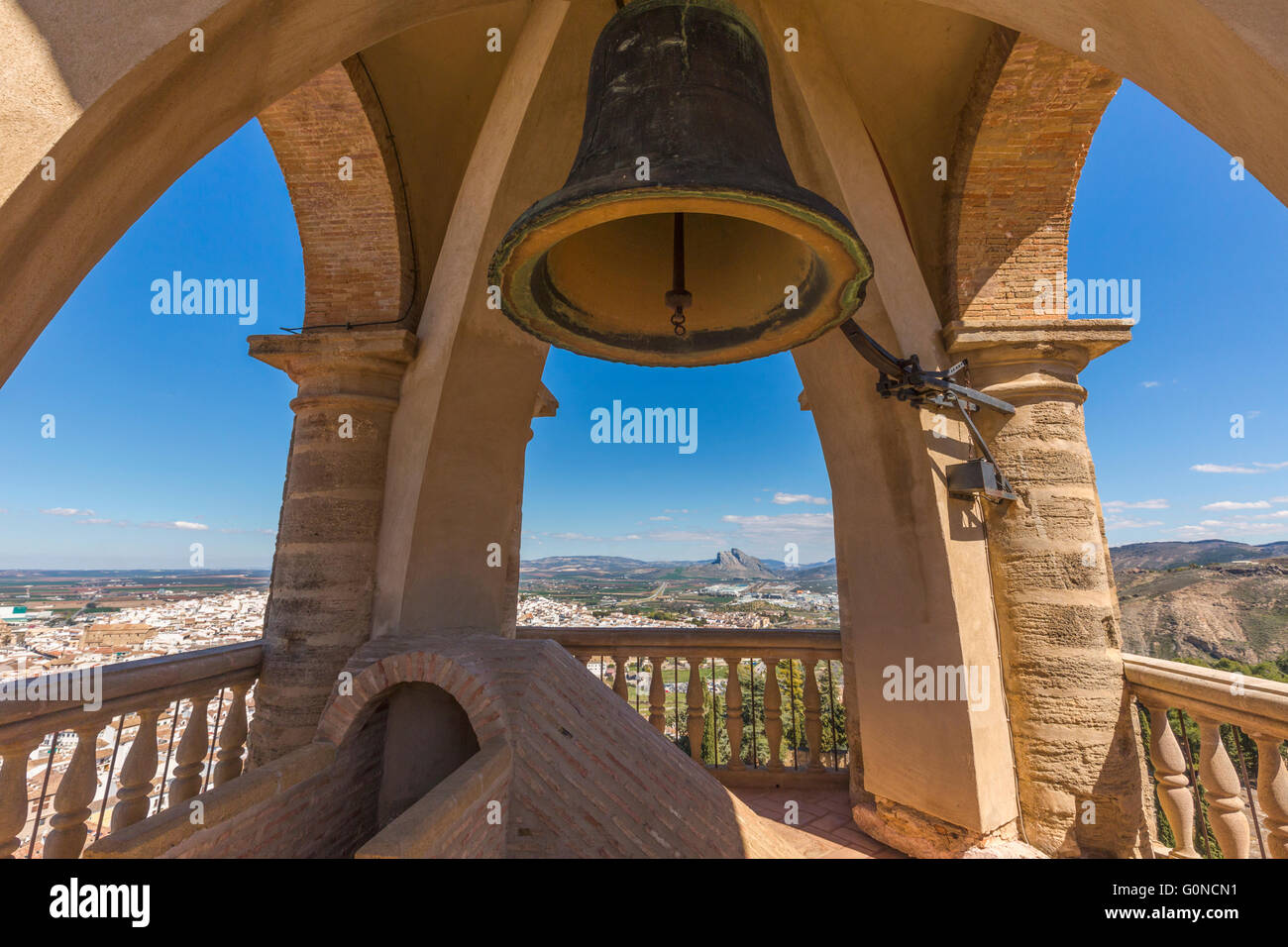 Antequera, Malaga Province, Andalusia, southern Spain.  Bell chamber atop the Torre del Homenaje, or Keep in La - Stock Image