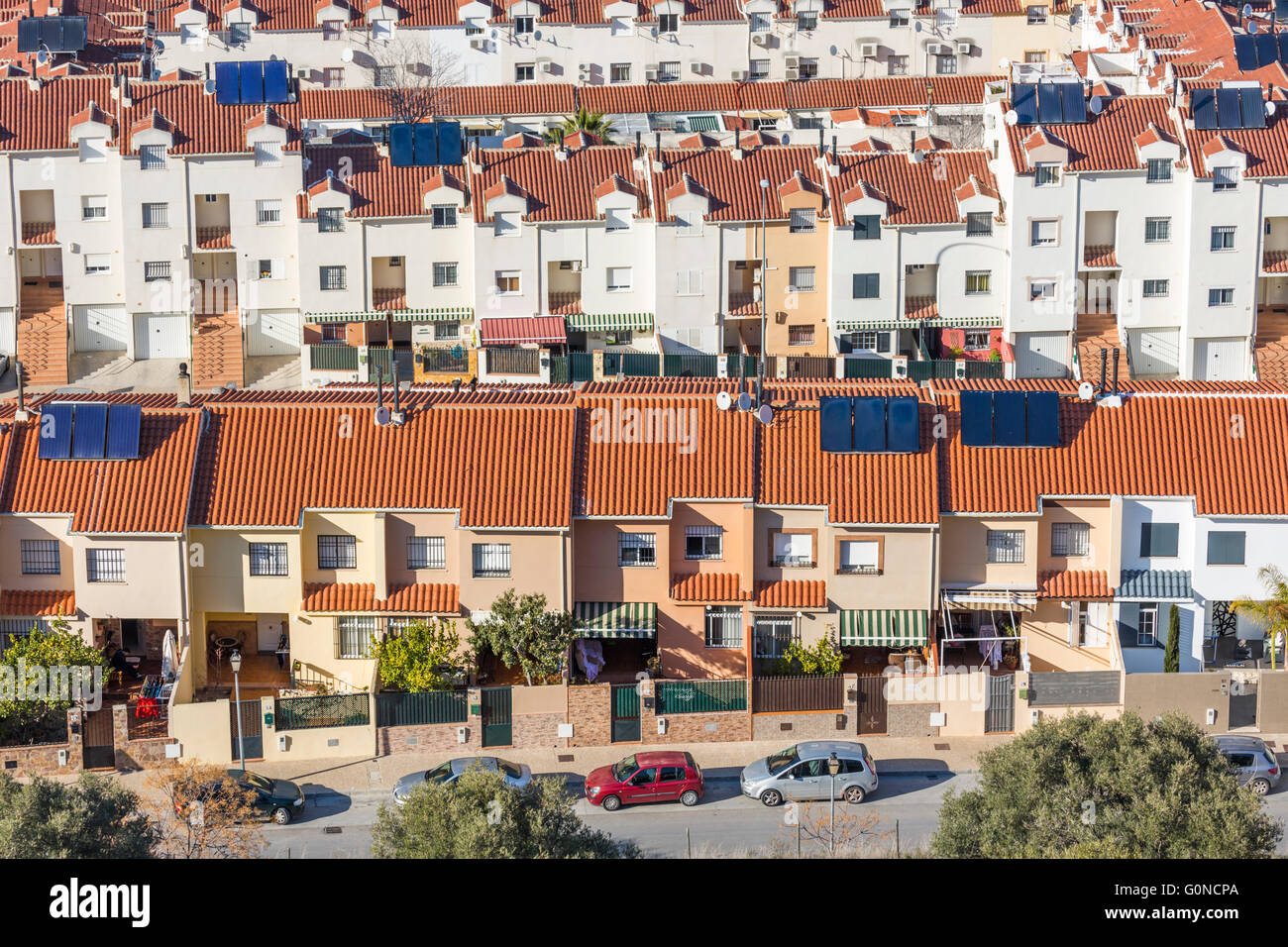 Antequera, Malaga Province, Andalusia, southern Spain.  Terraced houses (casas adosadas) on the outskirts of Antequera. - Stock Image