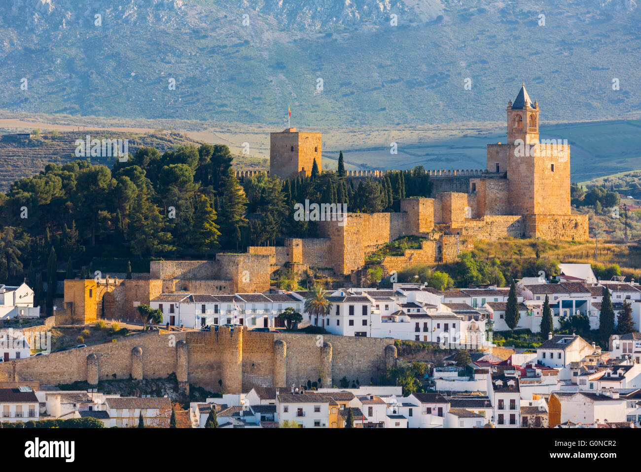 Antequera, Malaga Province, Andalusia, southern Spain.  View across the town from the Vera Cruz hill to La Alcazaba Stock Photo