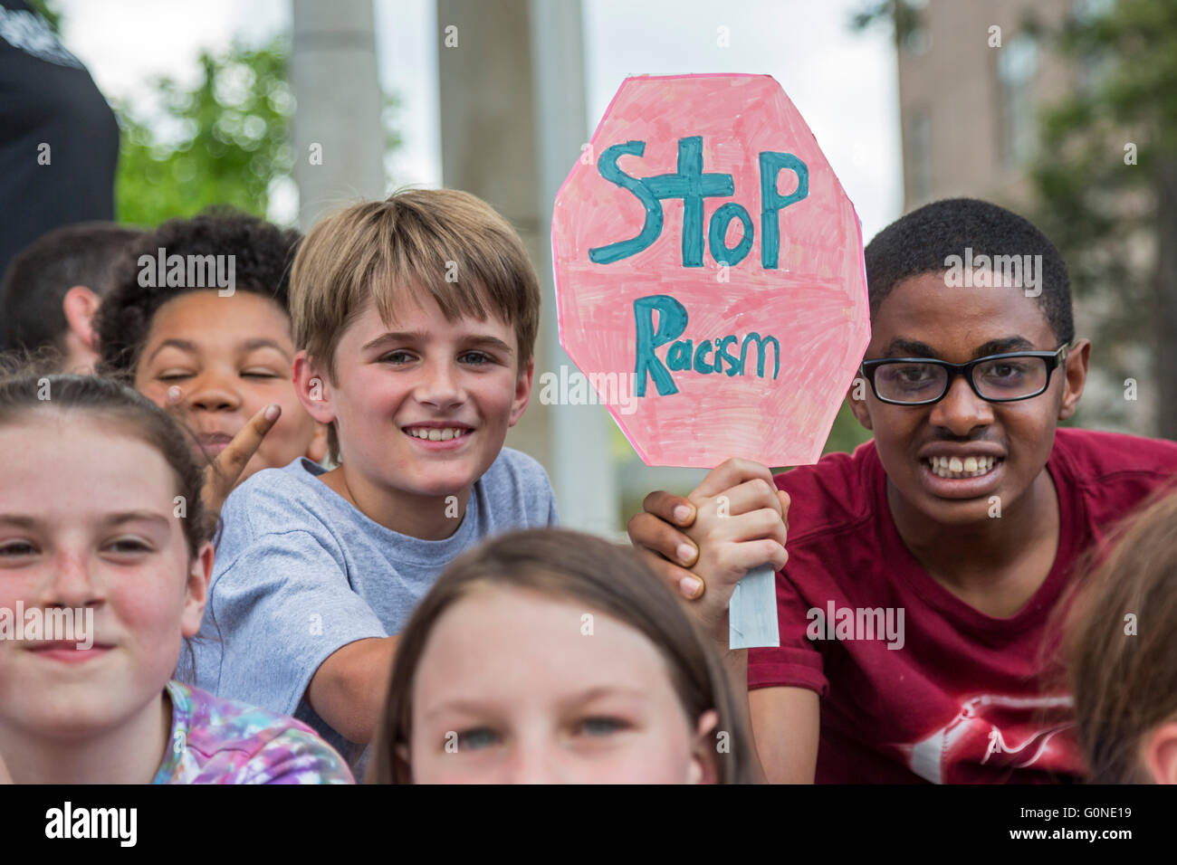 Asheville, North Carolina - Public school students from Isaac Dickson Elementary School participate in a rally against - Stock Image
