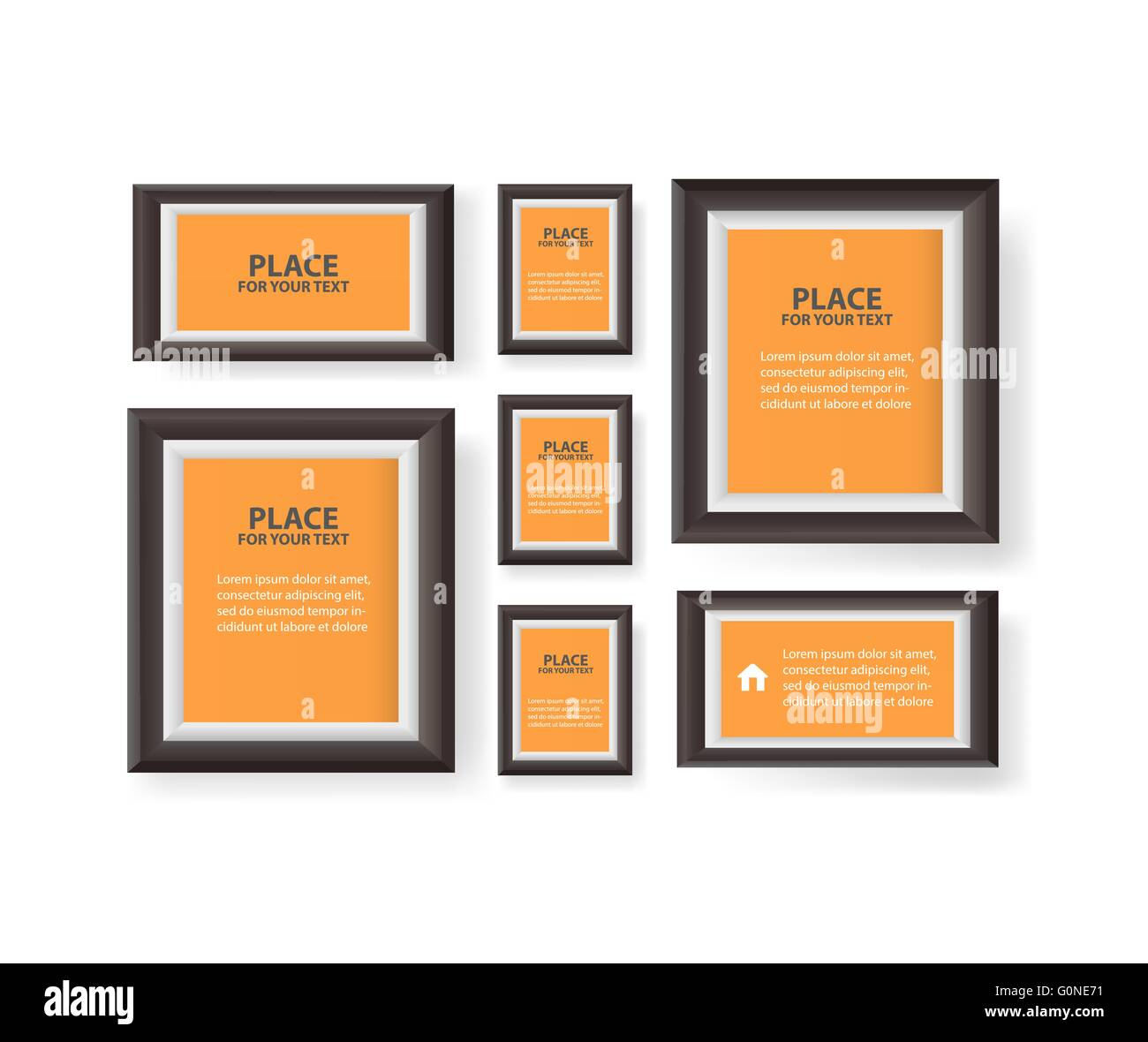 White modern frames on the wall, vector . - Stock Image