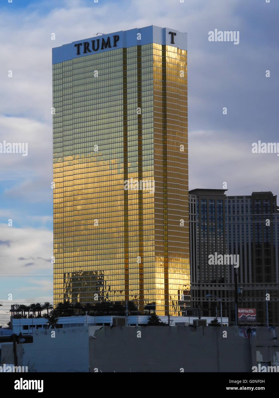The Trump Tower in Las Vegas, Nevada. The Trump Tower is a prominent, golden landmark owned by famous businessman - Stock Image