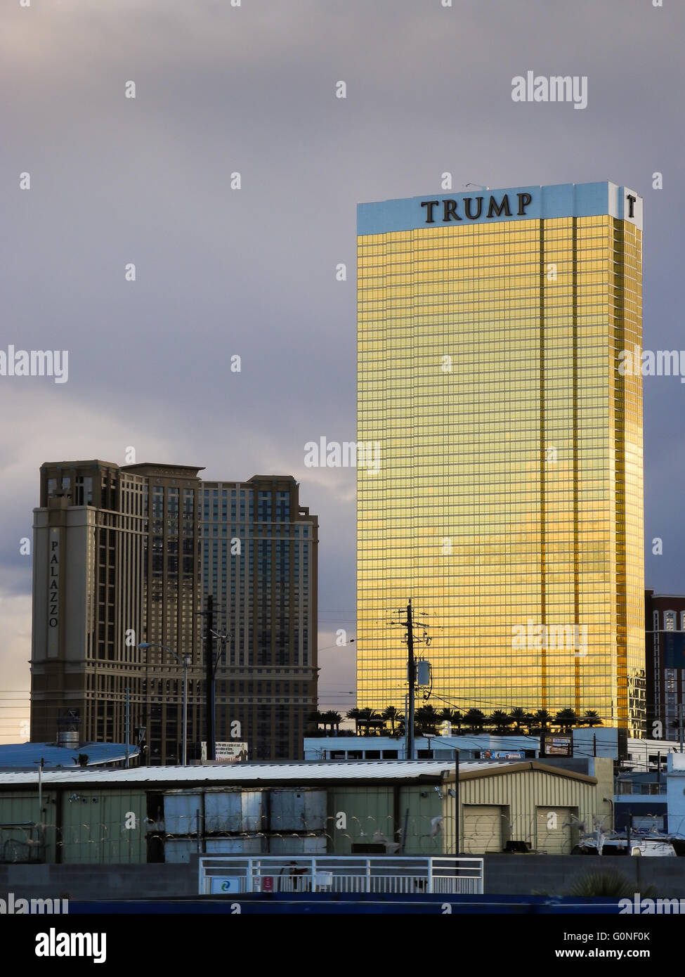 The Trump Tower in Las Vegas, Nevada. The Trump Tower is a prominent, golden landmark owned by famous businessman Stock Photo