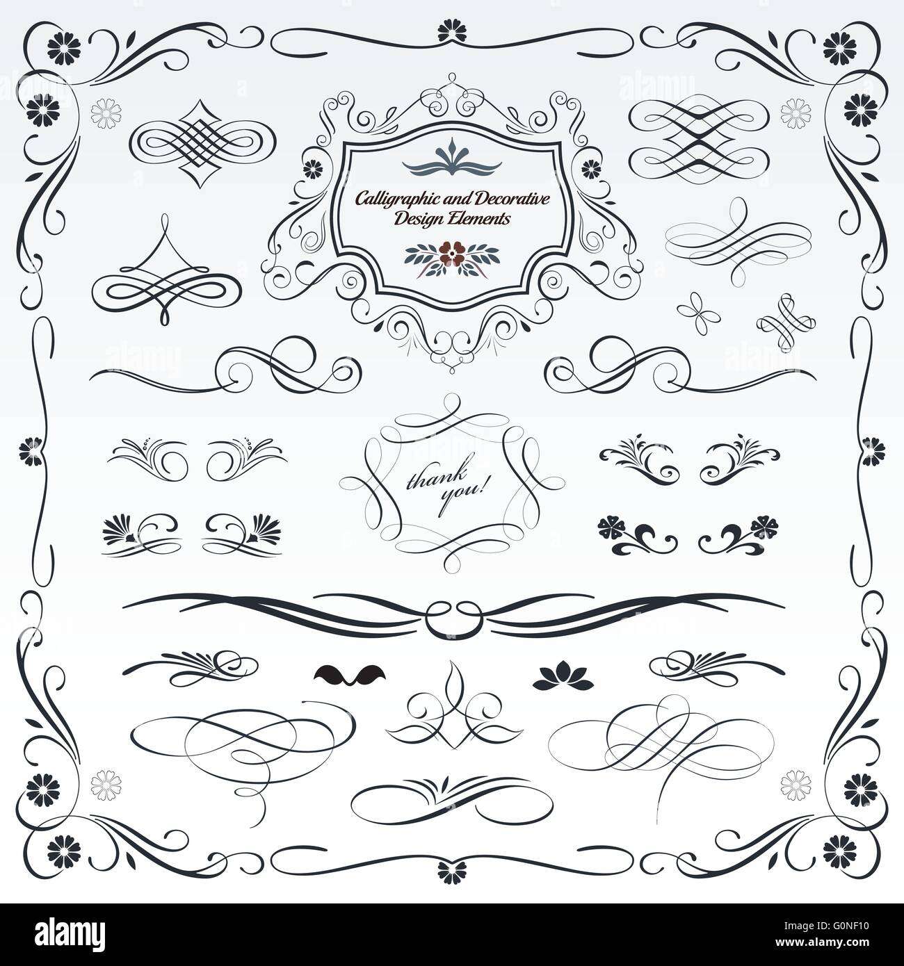 Collection of calligraphic and decorative design patterns, embellishments in vector format. - Stock Image