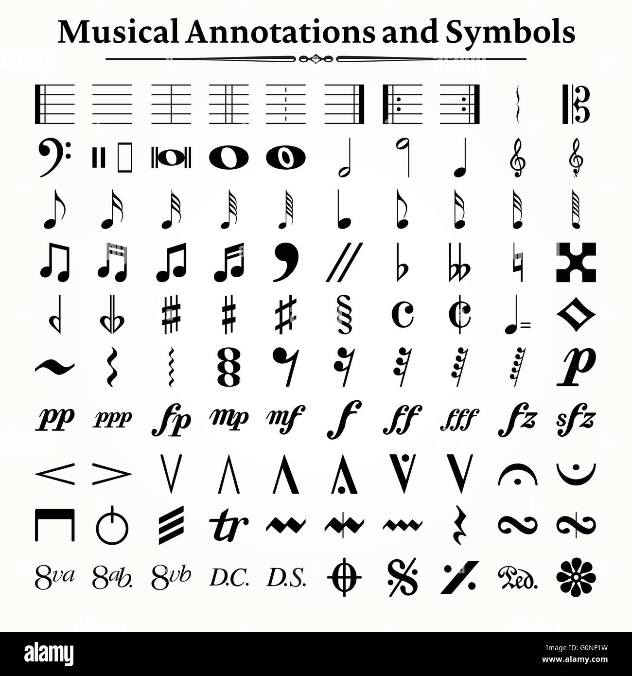 Elements Of Musical Symbols Icons And Annotations Stock Vector Art