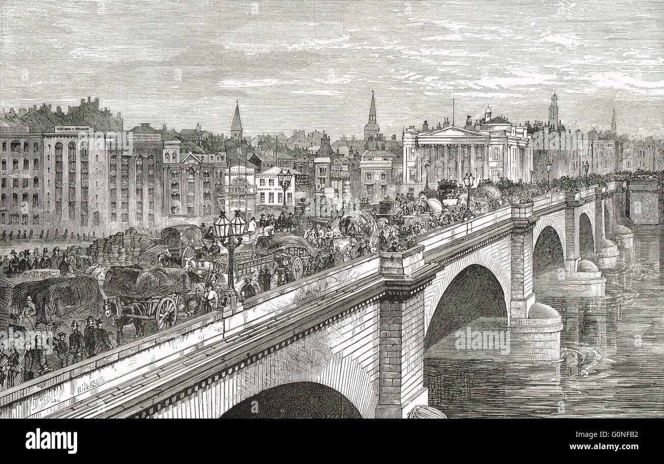 London Bridge in the 19th Century, congestion Victorian style - Stock Image
