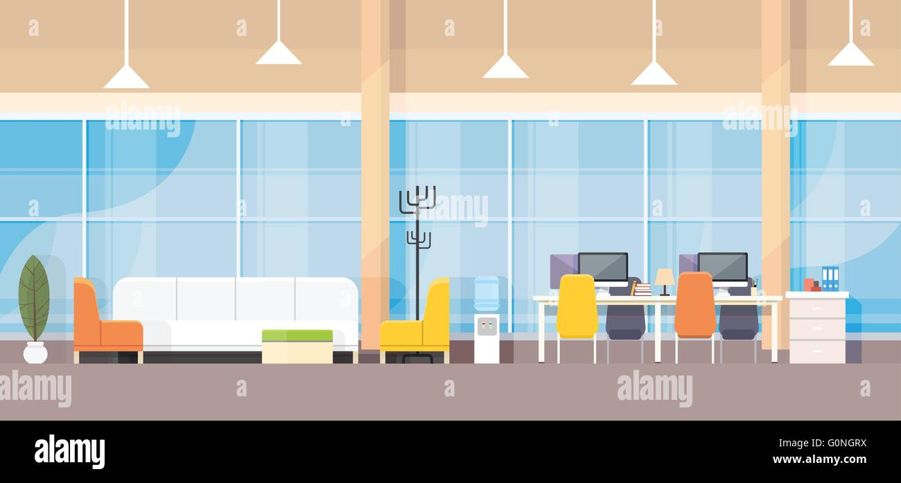 Modern bank office interior workplace desk flat design stock