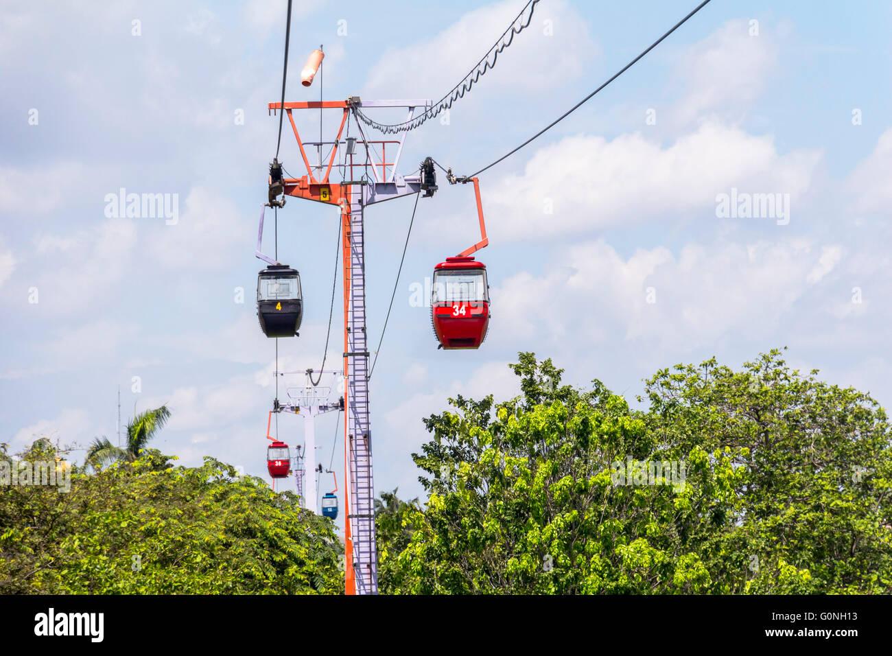 Cable railway in Taman Mini Park, Jakarta - Stock Image