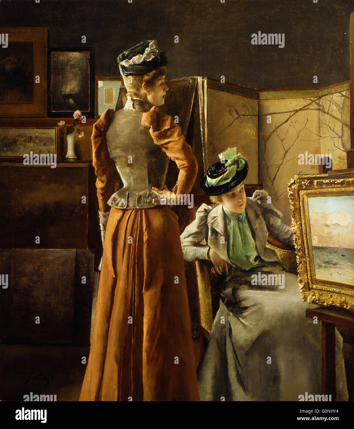 Stevens, Alfred Emile Leopold Joseph Victor - Visit to the Studio - Stock Image