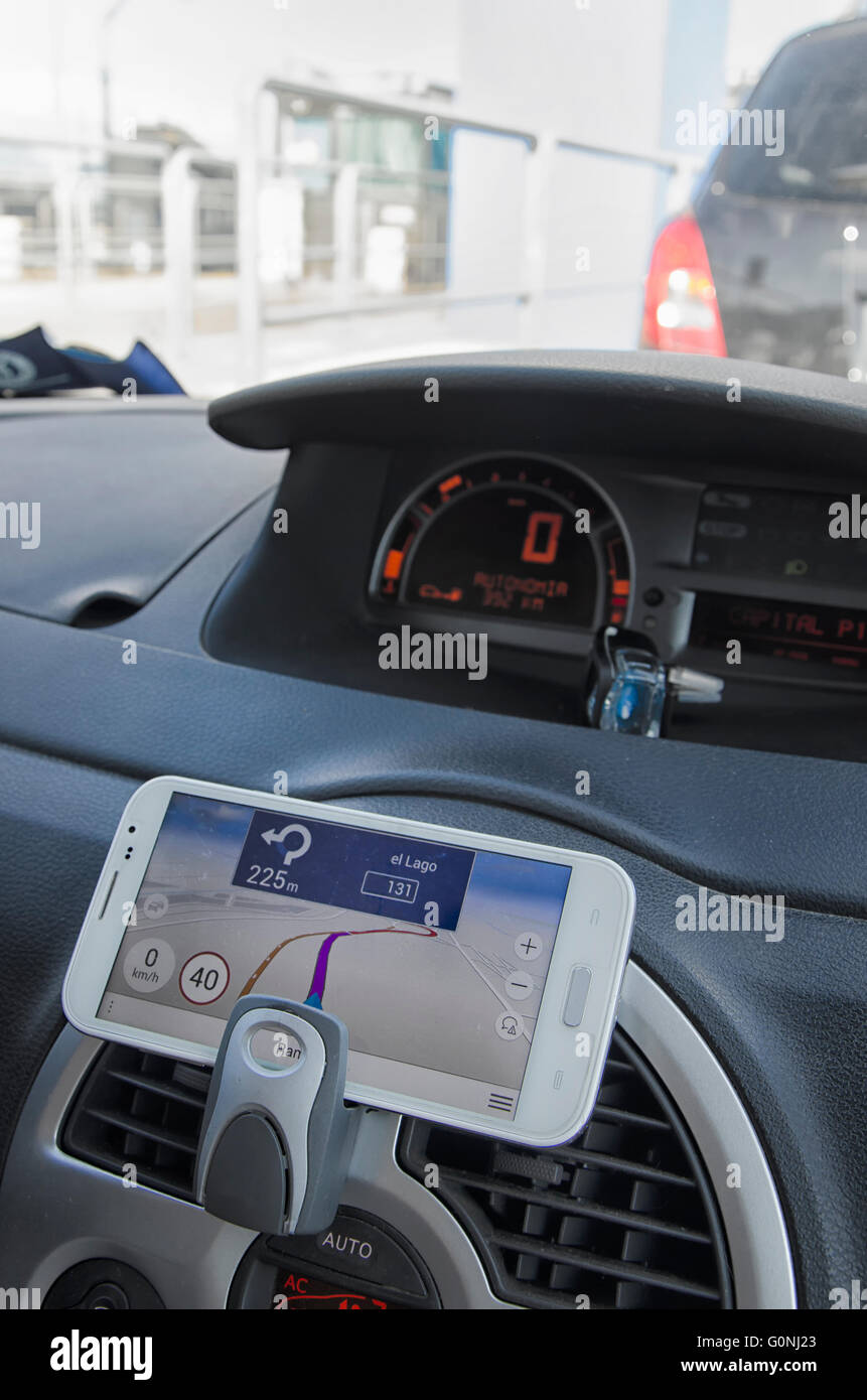 Do-it-yourself navigation system in a car - Stock Image