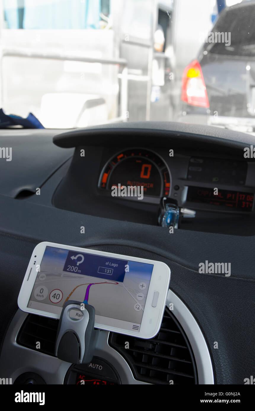 Dashboard sat nav car interior sat nav stock photos dashboard sat do it yourself navigation system with the phone stock image solutioingenieria Gallery