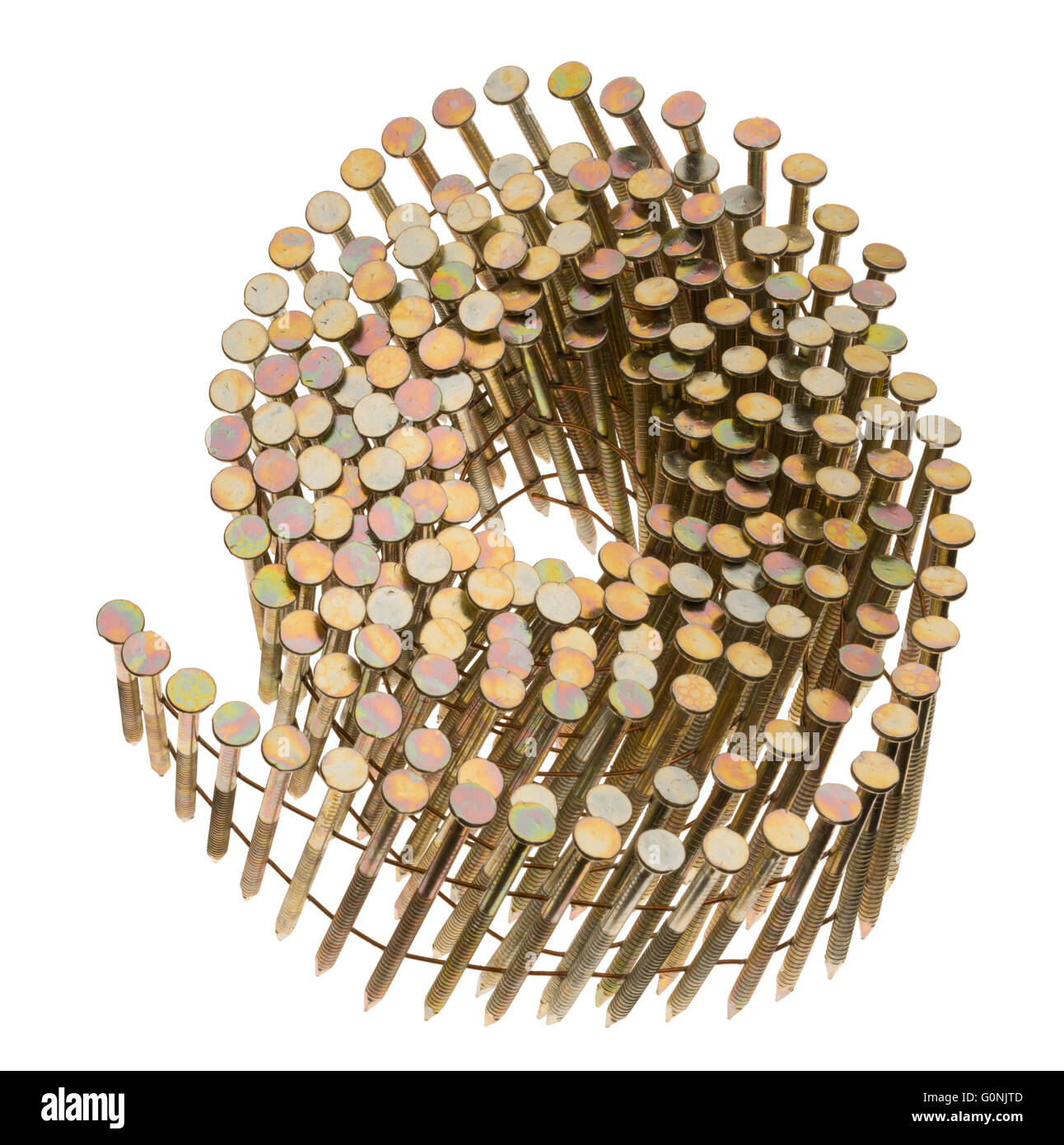 Coil collated nails for a nail gun. - Stock Image