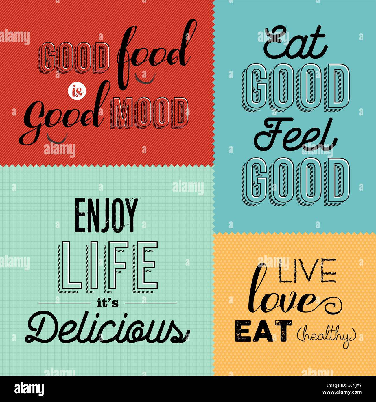 Set Of Vintage Food Quotes In Colorful Designs Ideal For Restaurant
