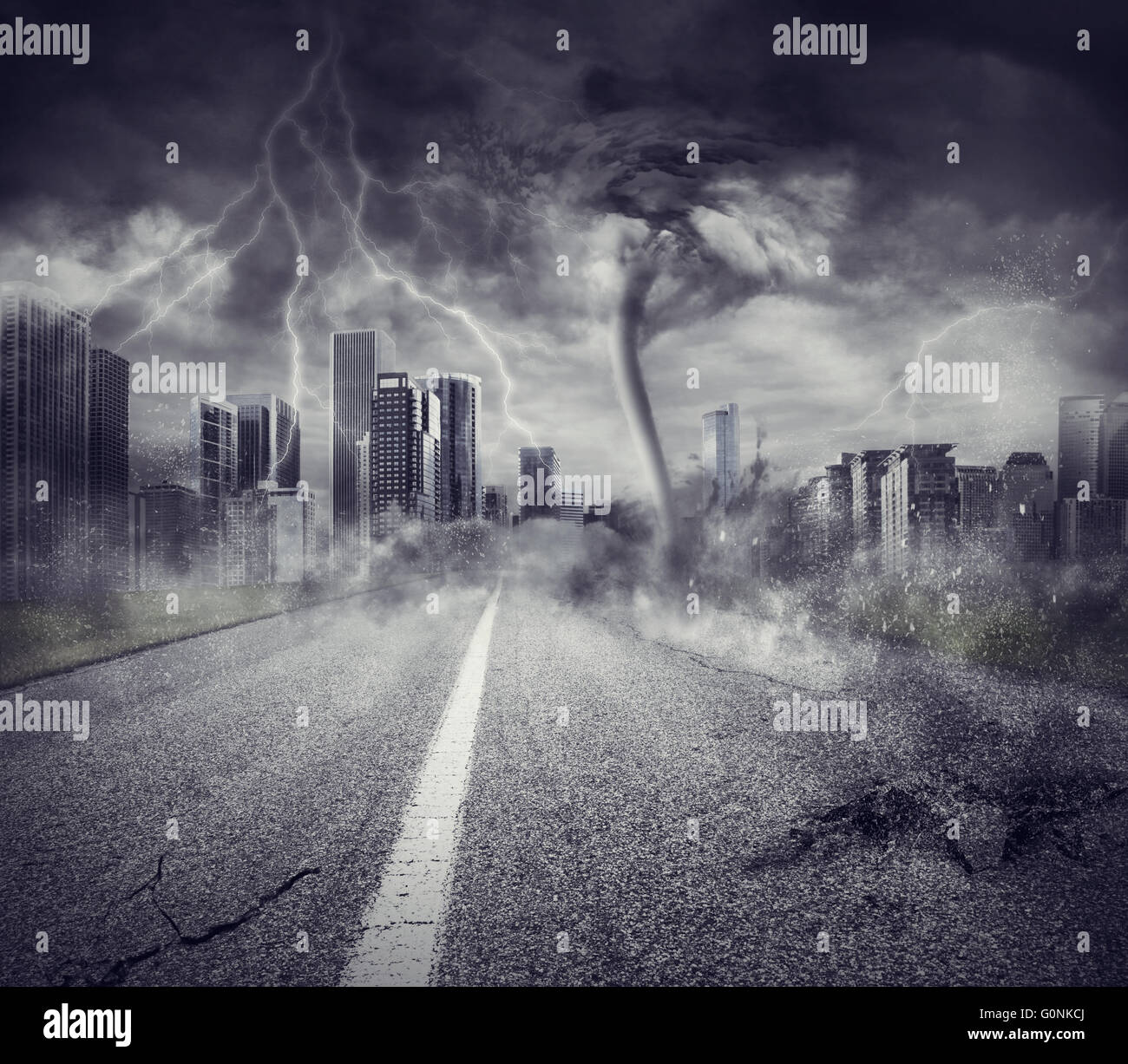 Recession concept with storm in a city - Stock Image