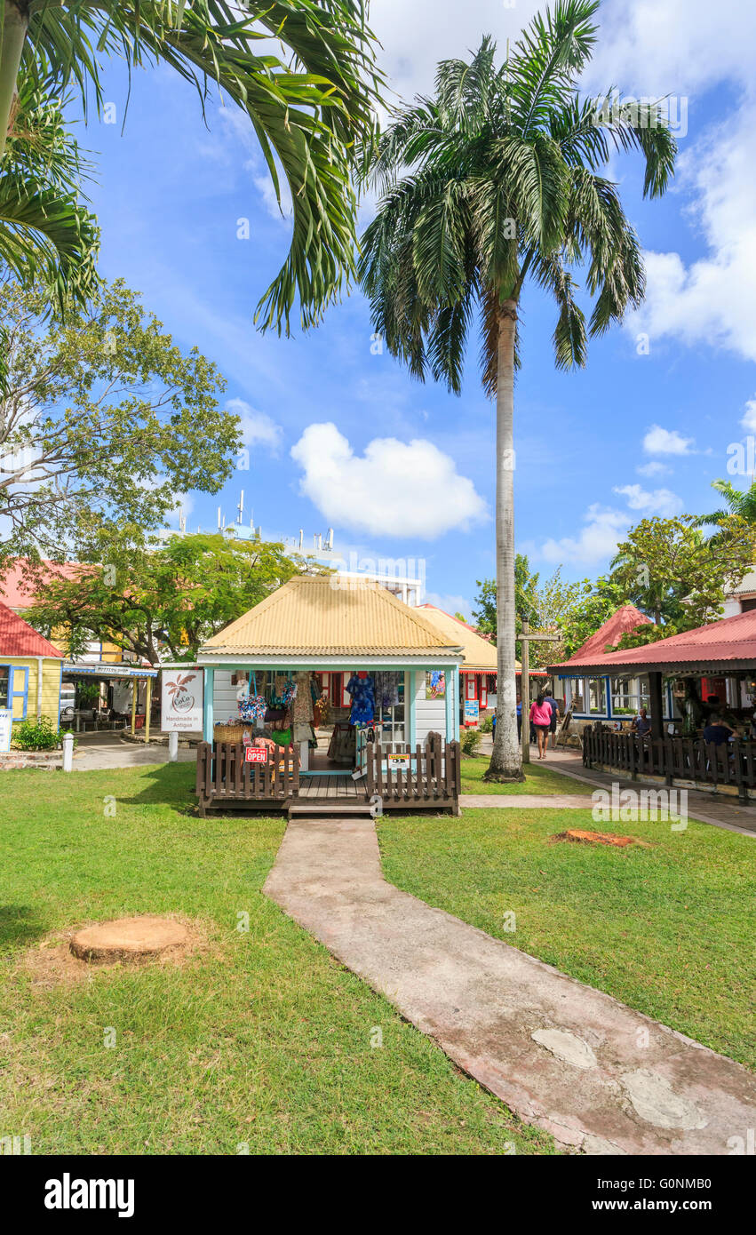 Souvenir shops near the port terminal, St John's, capital city, in the north of Antigua and Barbuda, West Indies Stock Photo