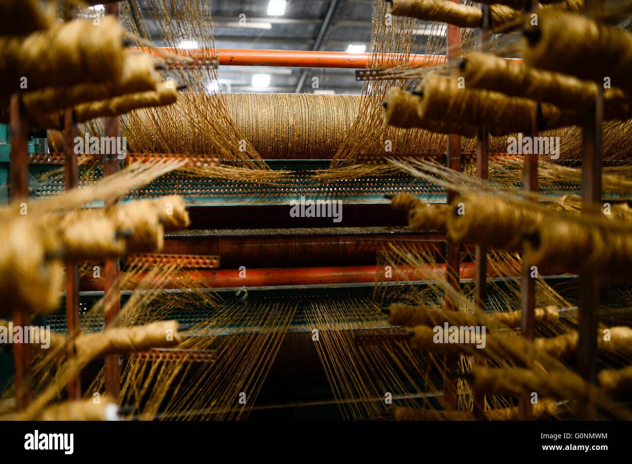 TANZANIA Tanga, Sisal industry, Tancord 1998 Ltd., processing of sisal fibres to carpet, weaving / TANSANIA Tanga, - Stock Image