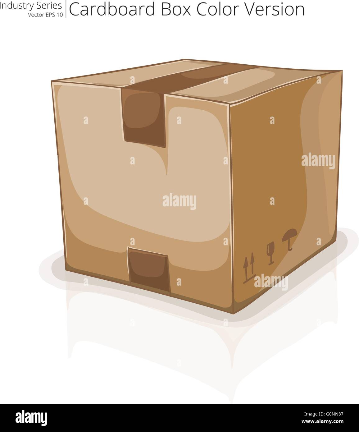 Abstract closed Cardboard Box. Front perspective view. Vector EPS10. - Stock Vector