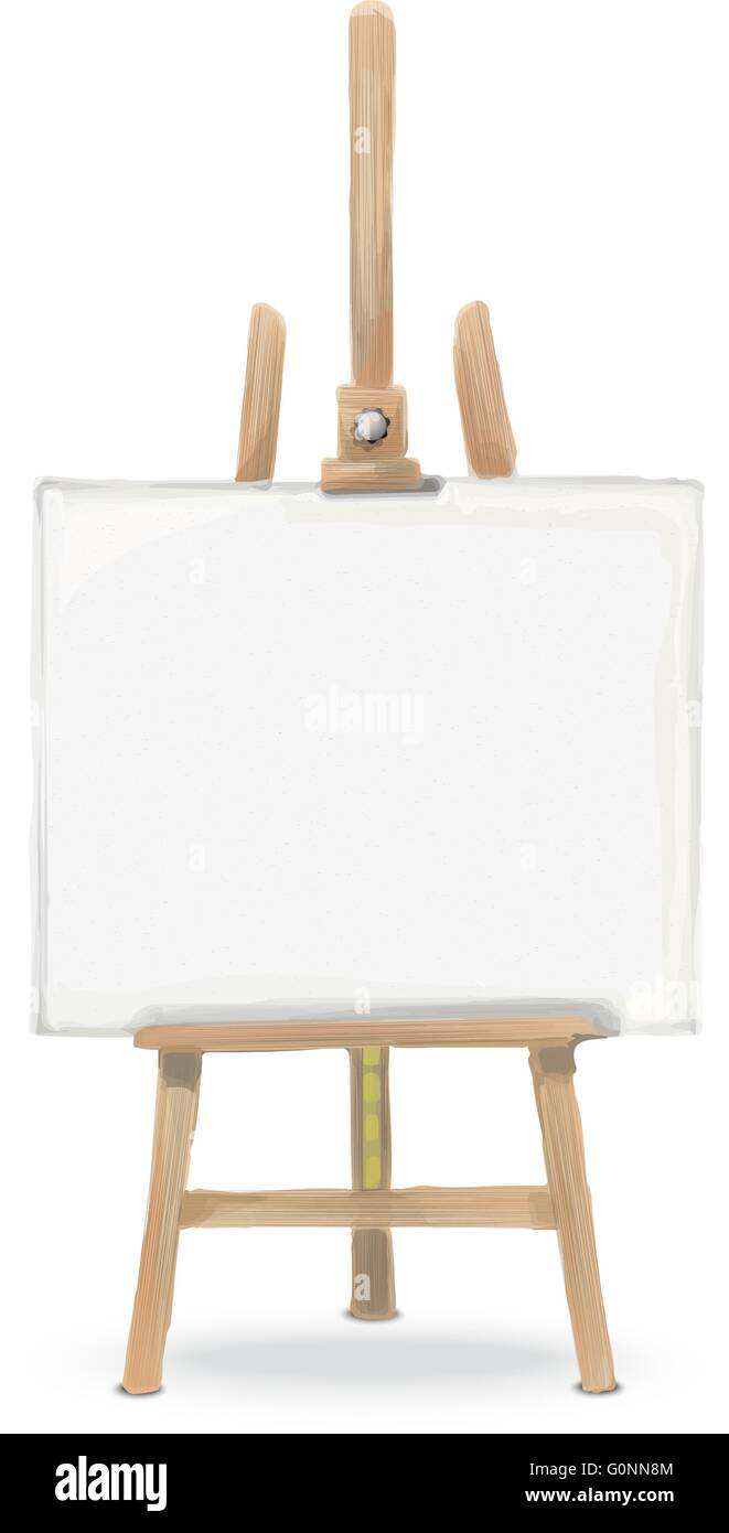 Rough Sketch Front View Of An Easel And Canvas Stock Vector Art