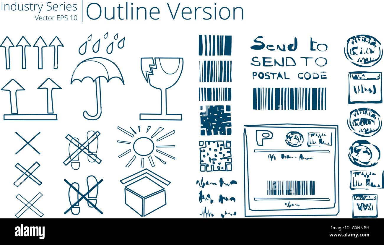 Vector illustration set of shipping sings, Outline Series. - Stock Vector