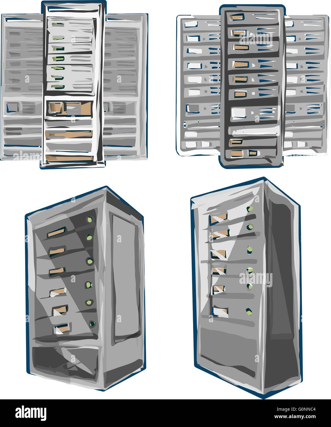 Sketch style Vector of Server Rack. Color scheme. - Stock Image