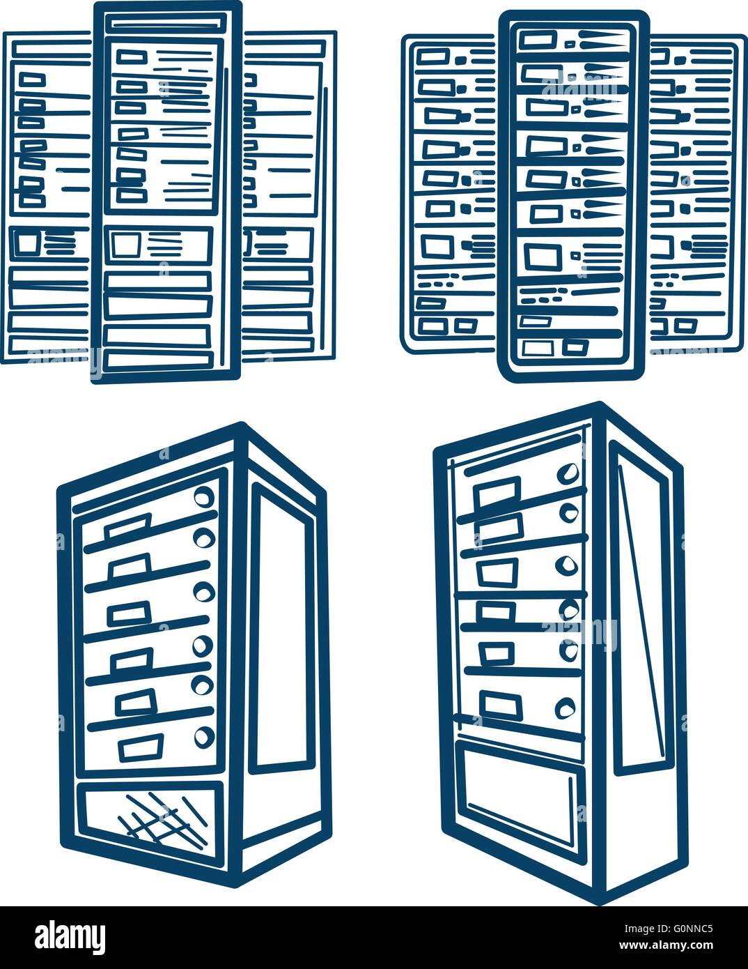 Sketch style Vector of Server Rack. Outline version. - Stock Image