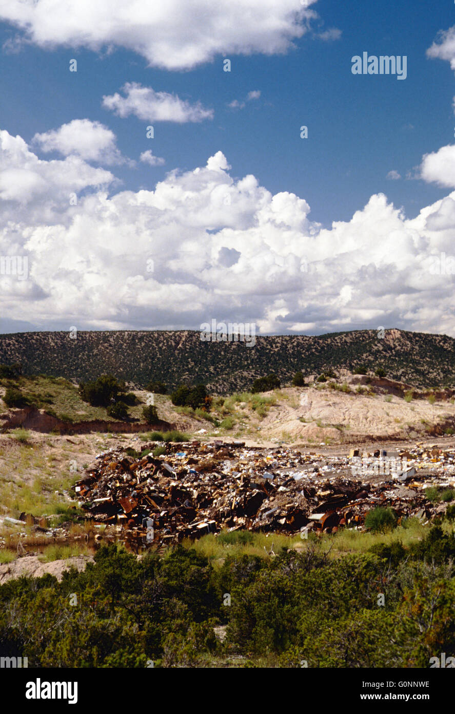 Landfill & town dump near Truchas; New Mexico; USA - Stock Image