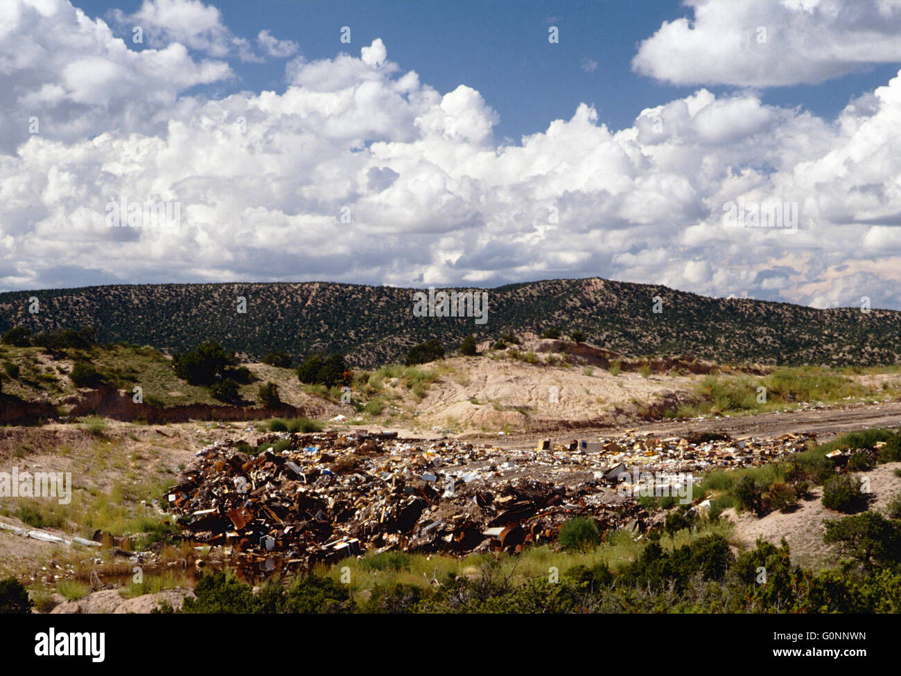 Landfill & town dump near Truchas; New Mexico; USA Stock Photo