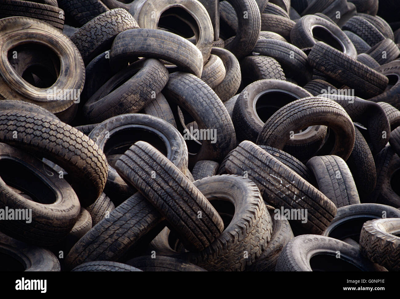 Landfill full of old automobile tires; upstate Pennsylvania; USA - Stock Image