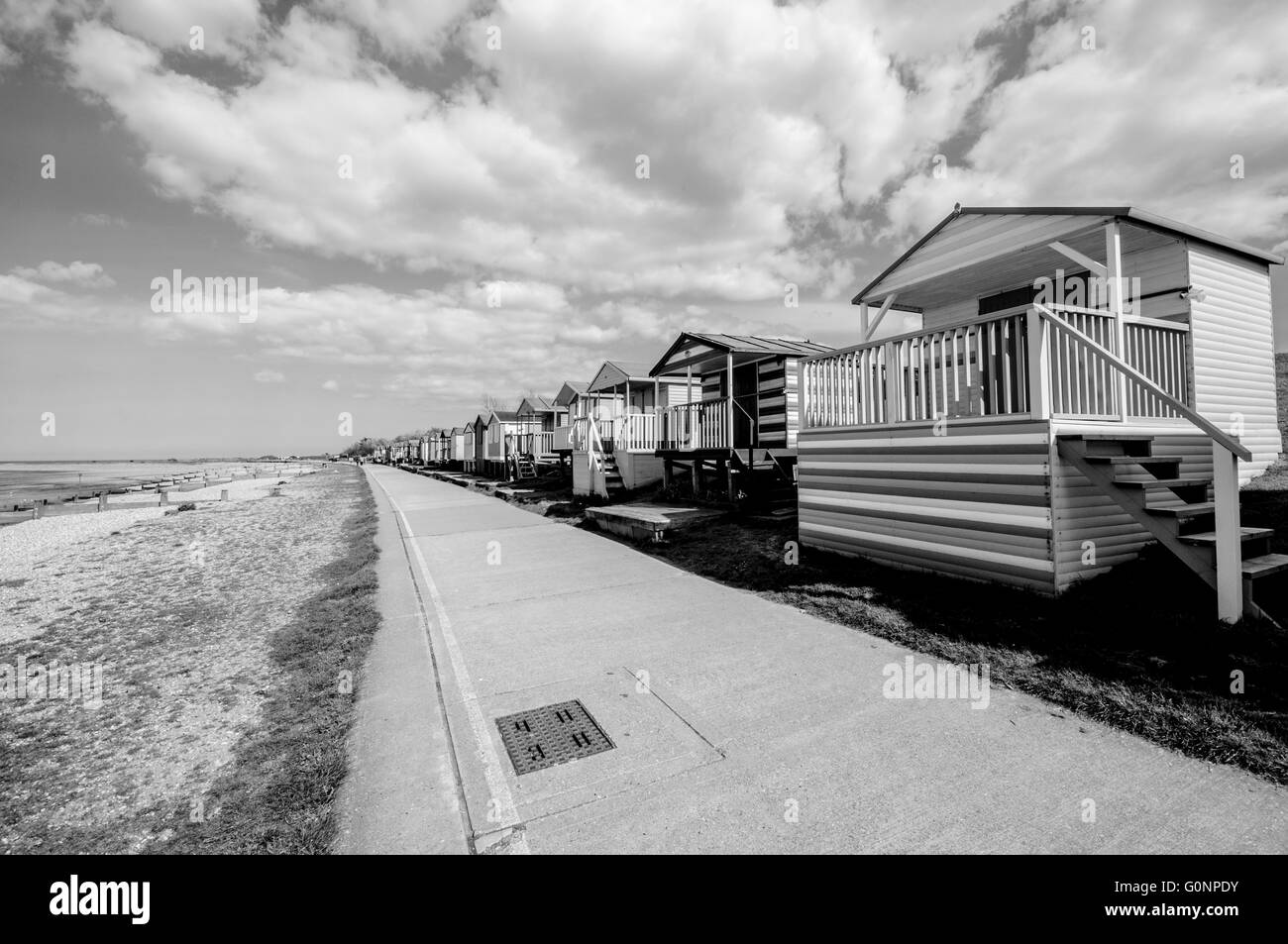 Huts along the beach in Whitstable, Kent, England Stock Photo