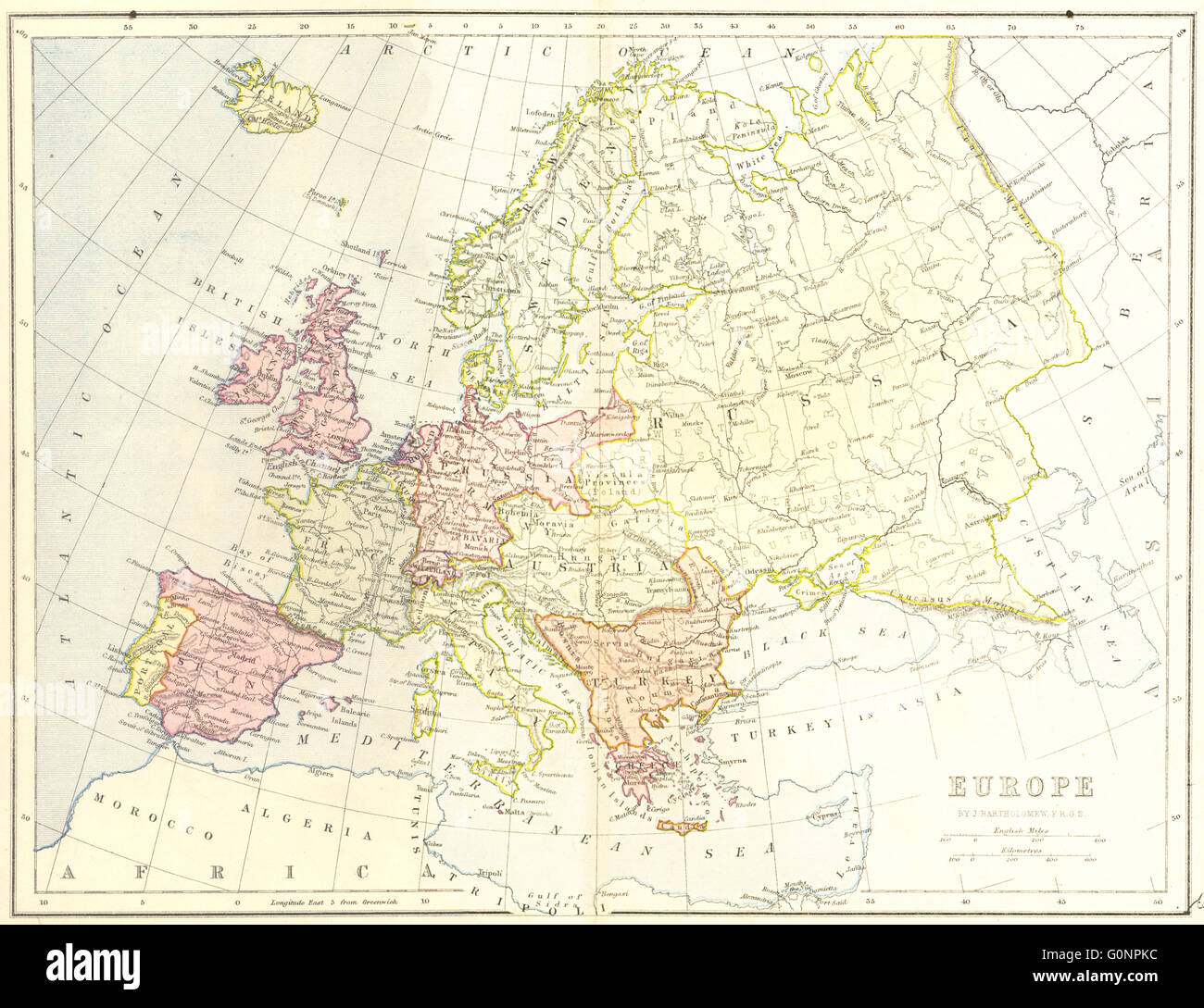 Map Of Europe 1840.Europe Europe 1870 Antique Map Stock Photo 103740992 Alamy
