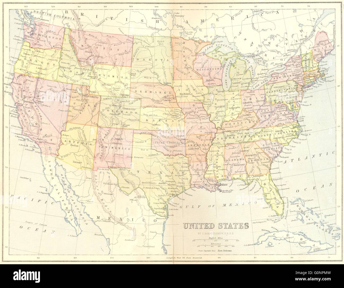 USA US 1870 antique map Stock Photo 103741033 Alamy